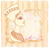 Old paper with Egyptian queen cleopatra — Stock Vector