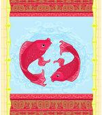 Peixe koi japonês ou cartão de carpa chinesa — Vetor de Stock