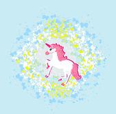 Ilustración vectorial del unicornio rosa hermosa. — Vector de stock