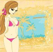 Palmiye ağaçları ve seksi kız ile Grunge banner — Stok Vektör