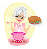 Grandmother cooking soup and serving chicken — Stock Vector