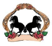 抽象的なビンテージ馬のロゴ — ストックベクタ