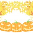 Stock Vector: Halloween pumpkins with fall leaves