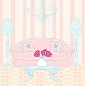 Modische innenraum wohnzimmer, doodle abbildung — Stockvektor