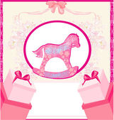 Rocking Horses - baby girl baby shower invitation card — Stock Vector