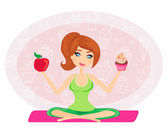 Girl choosing between an apple and a cupcake — Stock vektor