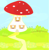 Funny cartoon mushroom house — Stock Vector