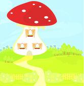 Funny cartoon mushroom house — Stock Vector