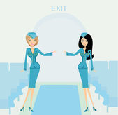 Two beautiful stewardess in blue uniforms inside an airliner pas — Stock Vector