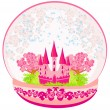 Illustration of a pink castle inside the dome  — Stock Vector