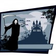 Stock Vector: Grim reaper with Halloween sign
