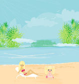 Young mother and her daughter at beach — Vector de stock