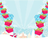 Santa claus with gift abstract illustration — Stock Vector