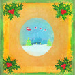 Card with Santa, winter landscape and abstract holly berry decor — ストック写真