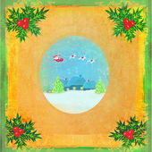 Card with Santa, winter landscape and abstract holly berry decor — Foto de Stock