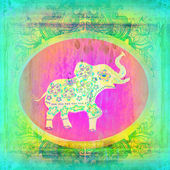 Vintage Indian ornament with an elephant — Stock Photo