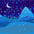 Stock Vector: Beautiful wintry landscape with night sky, mountains and light m