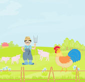 Cartoon Farmer Character — Vettoriale Stock