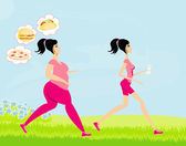 Young woman jogging,fat girl dreams of unhealthy eating, skinny — Stock Vector