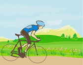 Man riding a bike in the mountains — Stock Vector