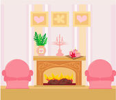 The interior of the fireplace in the center of the composition — Stock Vector