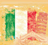 Grunge background symbols of italy - gondola and Pisa tower — Stock Vector