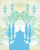 Artistic pattern background with mosque — Stock Vector