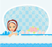 Woman bathing in bathtub in beautiful bathroom. — Stock Vector