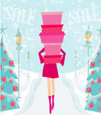 Christmas shopping - winter sale card — Stock Vector
