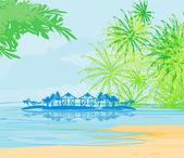 Tropical beach landscape vector — Stock Vector