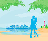 Silhouette couple kissing on tropical beach — Vecteur