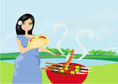 Woman cooking on a grill — Stock Vector