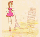 Güzel kadınlar Fransa ve İtalya alışveriş — Stok Vektör