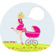 Beautiful pregnant wompushing stroller — Stock Vector #28165777