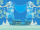 рождественская птица с декоративные шары — Cтоковый вектор