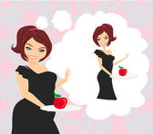 Girl on a diet holding a plate with an apple and imagine how it — Stock Vector