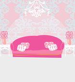 Módní interiér obývacího pokoje — Stock vektor