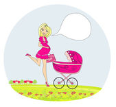 Beautiful pregnant woman pushing a stroller — Stock Vector