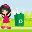Girl recycling bottles — Stock Vector