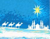 经典三魔术场景和伯利恒闪亮之星 — 图库矢量图片