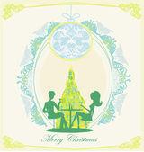 Junges Paar flirten und trinken Champagner in der Nähe von Weihnachtsbaum — Stockvektor