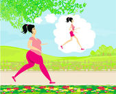Young woman jogging,fat girl dreams to be a skinny girl — Stock Vector