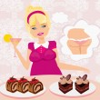 Stock Vector: Fat girl is afraid to eat calorie cakes