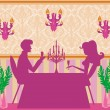 Young couple flirt and drink champagne — Imagen vectorial