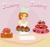 面包店的商店售货员品尝巧克力蛋糕 — 图库矢量图片
