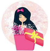 Flickan öppnar en jul eller födelsedag nuvarande låda med en under — Stockvektor