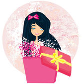 Girl opening a Christmas or birthday present box with a wonderfu — Vecteur