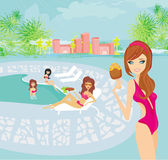 Vector image of girls and tropical pool — Stock Vector