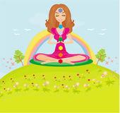 Dívka sedí a medituje - čakra body — Stock vektor