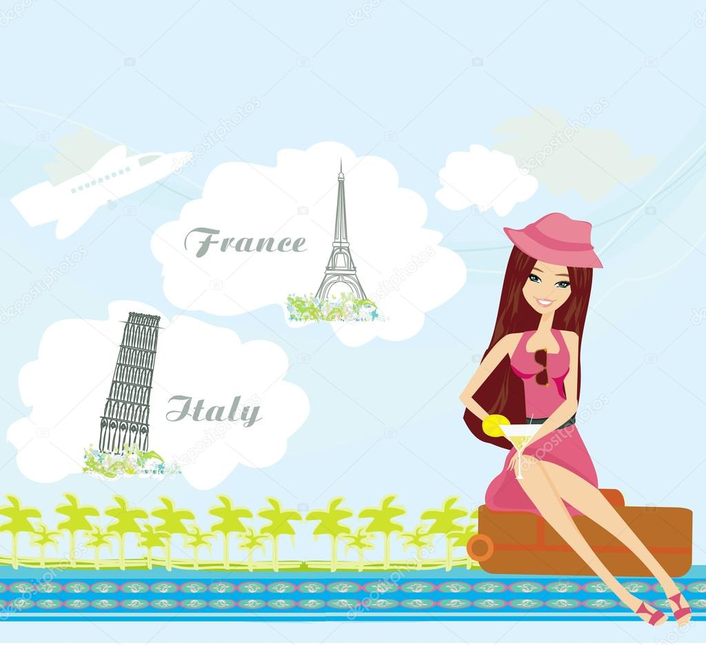 Pretty girl dreaming about vacation in France and in Italy — Stock ...